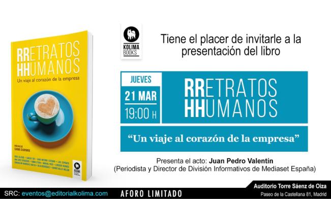 Invitación a presentación libro RRetratos HHumanos 21.03.2019 - Castellana 81